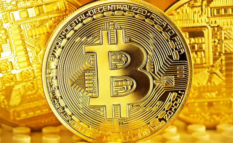 Bitcoin symbol in gold