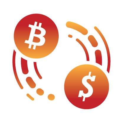 Bitcoin and FIAT icons circling each other indicating currency conversion