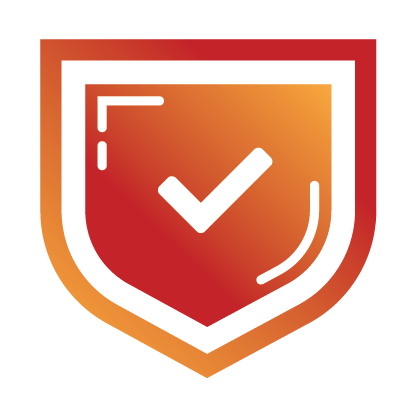 Shield with a checkmark describing reliability