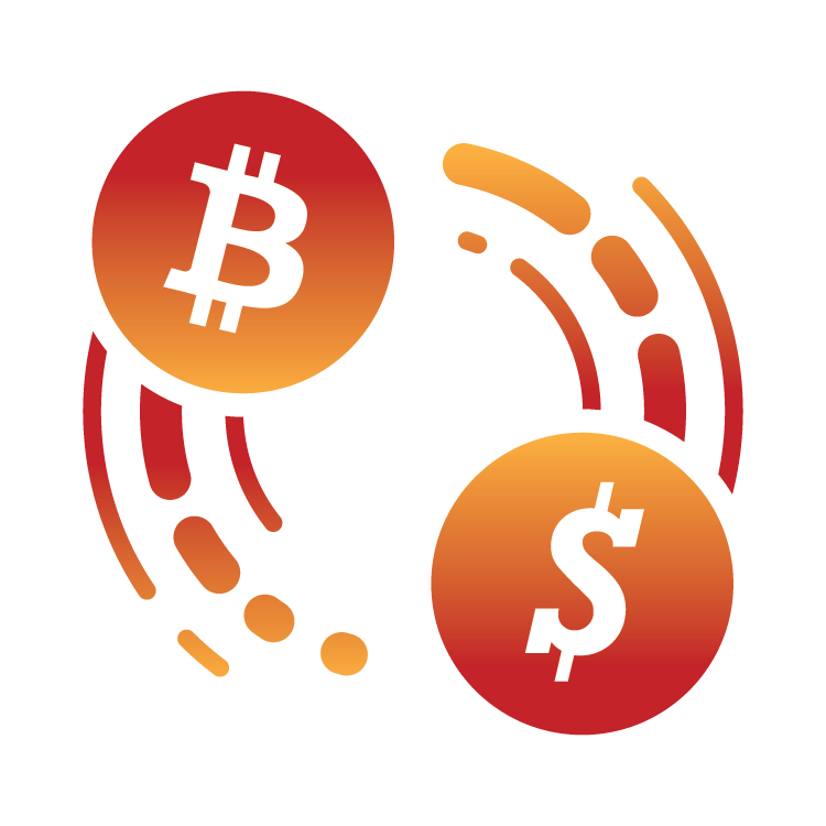 Bitcoin symbol and American dollar sign images, describing faster deposits and withdrawals.