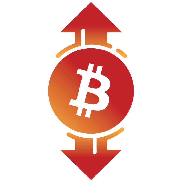 Bitcoin symbol showing up and down arrows, describing higher limits.