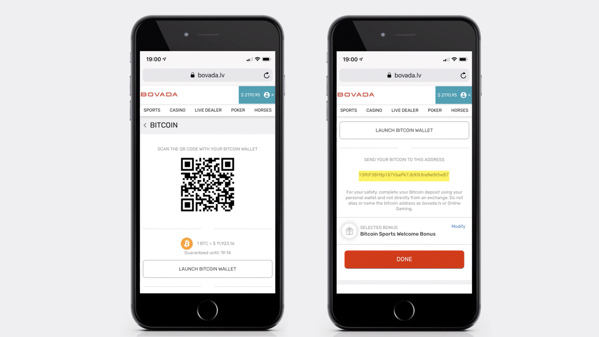 A pair of mobile screenshots describing how to set up Bitcoin with a sportsbook