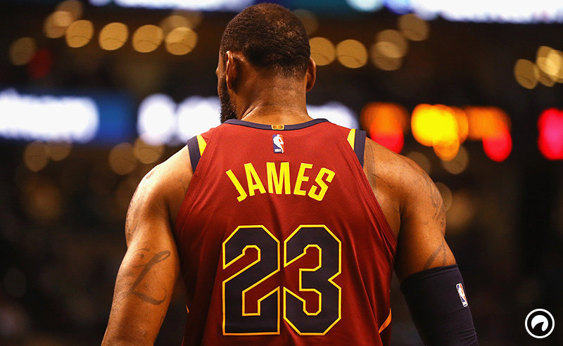 b1d97443fe4 A detail of the jersey of LeBron James  23 of the Cleveland Cavaliers in the