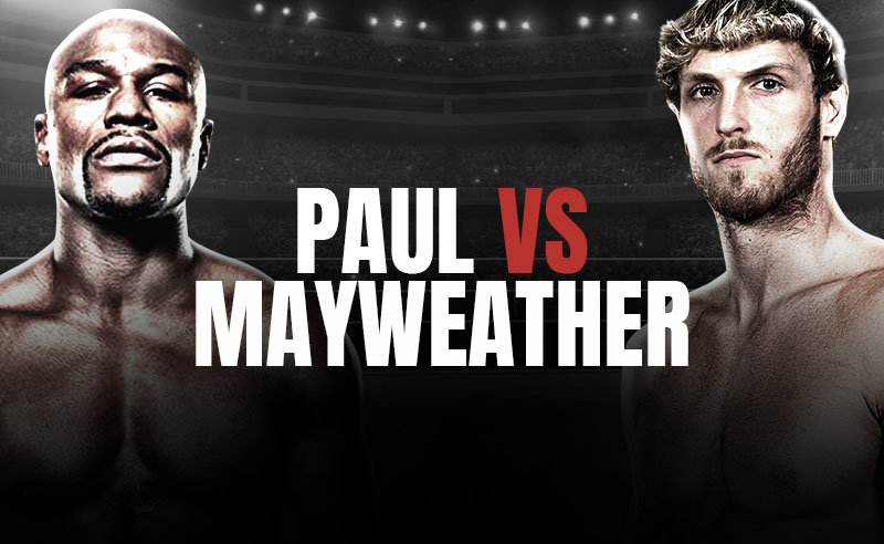 Logan Paul (right) vs Floyd Mayweather (left) odds have been released, with the pair scheduled for a boxing match on June 6.