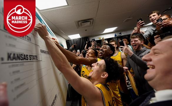 The UMBC Retrievers celebrate in their locker room after defeating the Virginia Cavaliers in the first round of the 2018 NCAA Men's Basketball Tournament