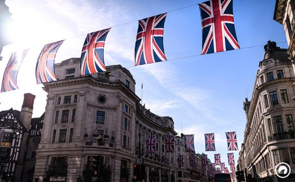Union Flags hang above Regent Street, as part of the preparations for the wedding of Prince Harry and Meghan Markle, on May 11, 2018 in London, England.