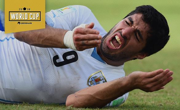 Find out the latest prop betting odds for Luis Suarez to bite an opponent.