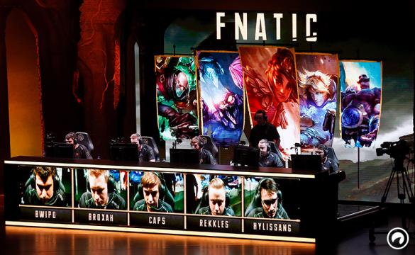 Fnatic's team competes the video game 'League of Legends' during the 'Mid Season Invitational League of Legends' at the Zenith