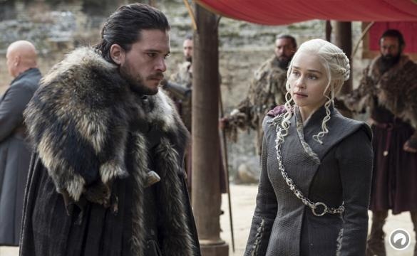 Daenerys Targaryen and Jon Snow discuss matters during an episode of Game of Thrones.