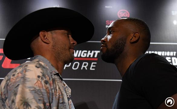 UFC fighters Donald 'Cowboy' Cerrone and Leon 'Rocky' Edwards face-off during a press conference ahead of UFC Fight Night in Singapore