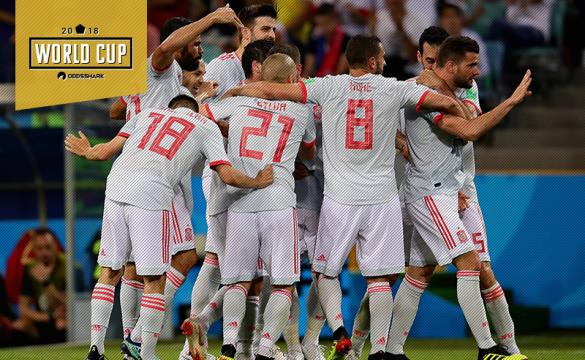 Spain Celebrate a Goal Versus Portugal at World Cup 2018
