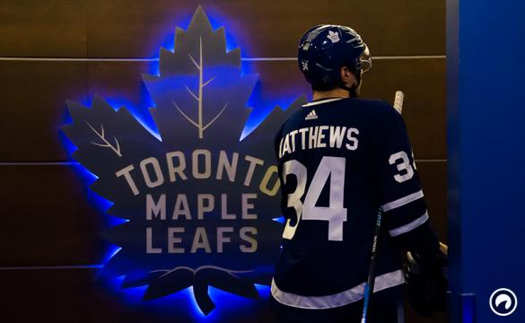 Auston Matthews #34 of the Toronto Maple Leafs returns to the locker room after the first period against the Montreal Canadiens at the Air Canada Centre on April 7, 2018 in Toronto, Ontario, Canada.