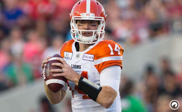 Travis Lulay of the BC Lions looks for a receiver at Ottawa's TD Place Stadium. The Ottawa Redblacks defeated the BC Lions 29-25
