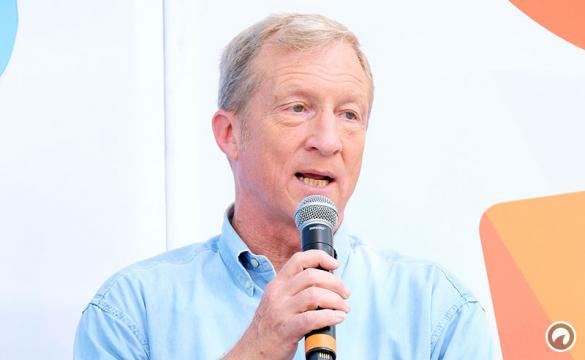 Tom Steyer speaks onstage during OZY Fest 2018 at Rumsey Playfield, Central Park on July 22, 2018 in New York City.