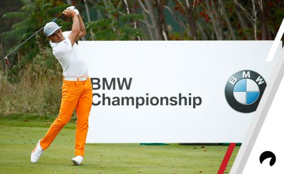 Rickie Fowler hits his tee shot on the 15th hole during the final round of the BMW Championship at Conway Farms Golf Club on September 17, 2017 in Lake Forest, Illinois.