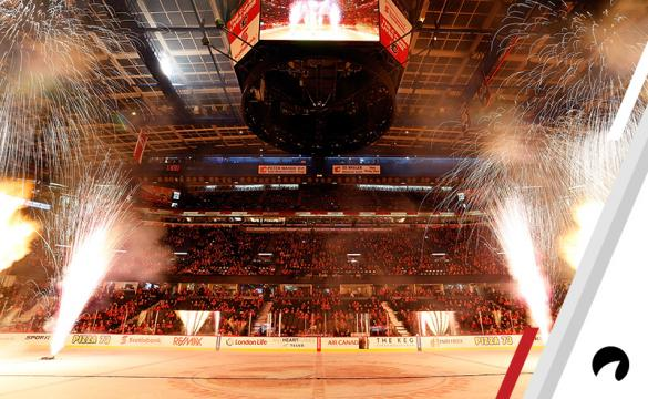 Fireworks are lit after an NHL game between the Calgary Flames and the Arizona Coyotes on December 31, 2016 at the Scotiabank Saddledome in Calgary, Alberta, Canada.