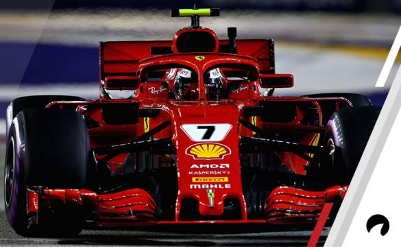 Kimi Raikkonen of Finland driving the (7) Scuderia Ferrari SF71H on track during practice for the Formula One Grand Prix of Singapore at Marina Bay Street Circuit on September 14, 2018 in Singapore.