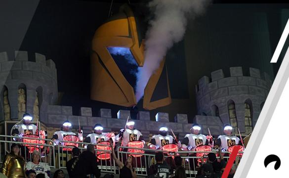 The Vegas Golden Knights Knight Line Drumbots perform during Game Three of the Western Conference Finals between the Winnipeg Jets and the Golden Knights during the 2018 NHL Stanley Cup Playoffs at T-Mobile Arena on May 16, 2018 in Las Vegas, Nevada. The Golden Knights won 4-2.