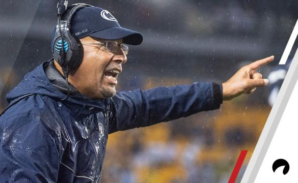 Penn State Nittany Lions head coach James Franklin talks to some players during a college football game between the Pittsburgh Panthers and Penn State Nittany Lions on September 8, 2018 at Heinz Field in Pittsburgh, PA.