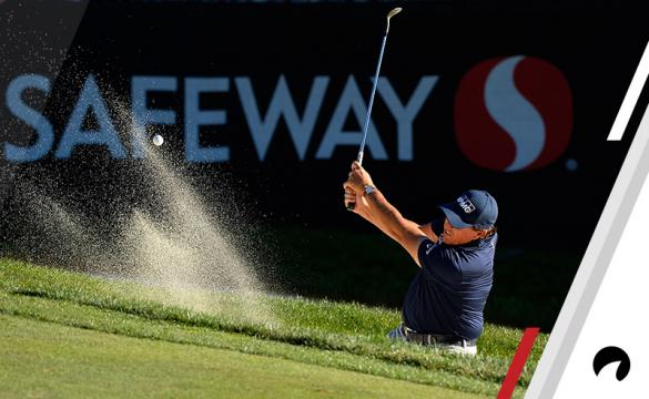 Phil Mickelson plays his shot out of the bunker on the 17th hole during the final round of the Safeway Open at the North Course of the Silverado Resort and Spa on October 8, 2017 in Napa, California.