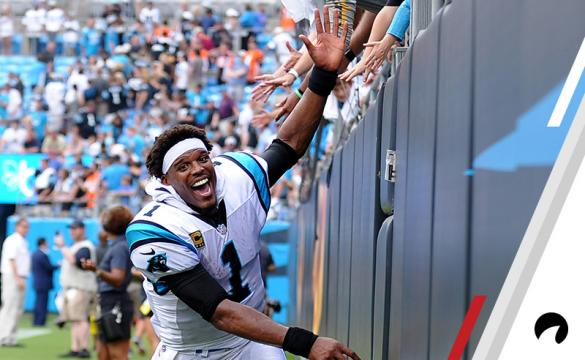 Carolina Panthers quarterback Cam Newton (1) runs down the wall to high five the fans but they weren't ready for him after the NFL game between the Cincinnati Bengals and the Carolina Panthers on September 23 2018, at Bank of America Stadium in Charlotte,NC.