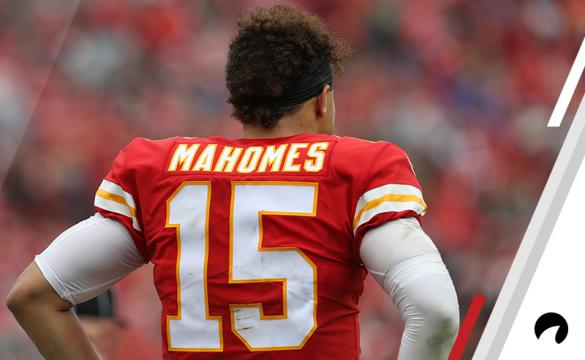 A view of Kansas City Chiefs quarterback Patrick Mahomes (15) from behind in the second quarter of an NFL game between the Jacksonville Jaguars and Kansas City Chiefs on October 7, 2018 at Arrowhead Stadium in Kansas City, MO.