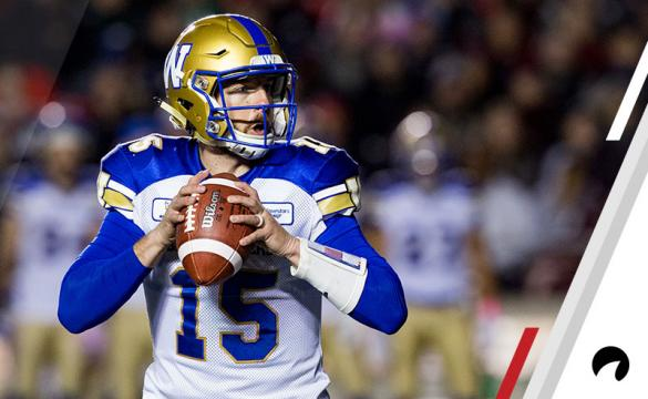 Winnipeg Blue Bombers quarterback Matt Nichols (15) looks to make a pass during Canadian Football League action between the Winnipeg Blue Bombers and Ottawa Redblacks on October 5, 2018, at TD Place Stadium in Ottawa, ON, Canada.