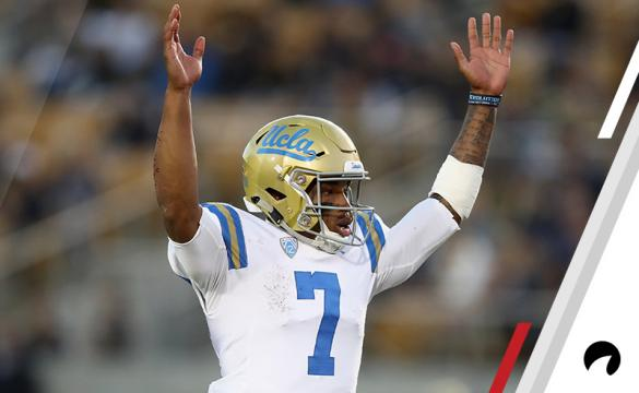 Dorian Thompson-Robinson #7 of the UCLA Bruins celebrates after the Bruins scored a touchdown against the California Golden Bears at California Memorial Stadium on October 13, 2018 in Berkeley, California.