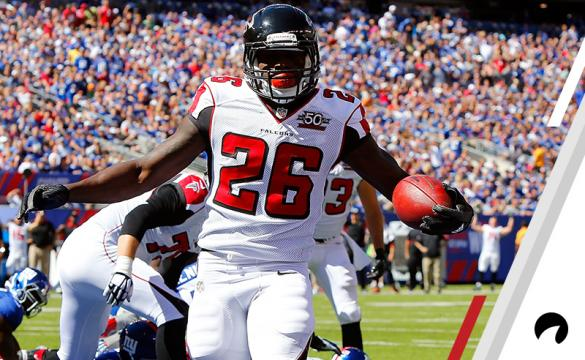Tevin Coleman #26 of the Atlanta Falcons in action against the New York Giants on September 20, 2015 at MetLife Stadium in East Rutherford, New Jersey. The Falcons defeated the Giants 24-20.