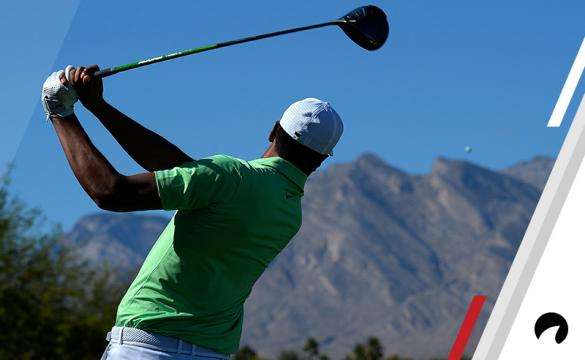 Tony Finau hits his tee shot on the sixth hole during the final round of the Shriners Hospitals For Children Open at the TPC Summerlin on November 5, 2017 in Las Vegas, Nevada.