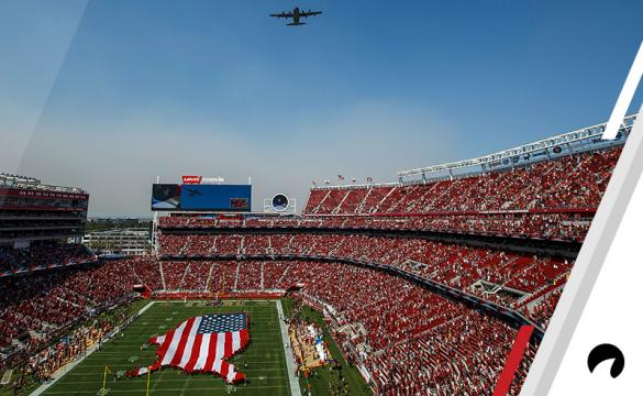 A Lockheed Martin HC-130J Combat King II from the United States Air Force 129th Rescue Wing, California Air National Guard, performs a flyover before the game between the San Francisco 49ers and the Arizona Cardinals at Levi's Stadium on October 7, 2018 in Santa Clara, California.