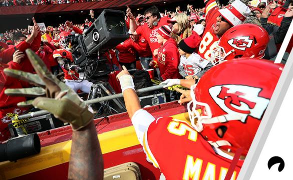 Tyreek Hill #10 of the Kansas City Chiefs takes over a television camera after scoring a touchdown in the second quarter of the game against the Arizona Cardinals at Arrowhead Stadium on November 11, 2018 in Kansas City, Missouri.