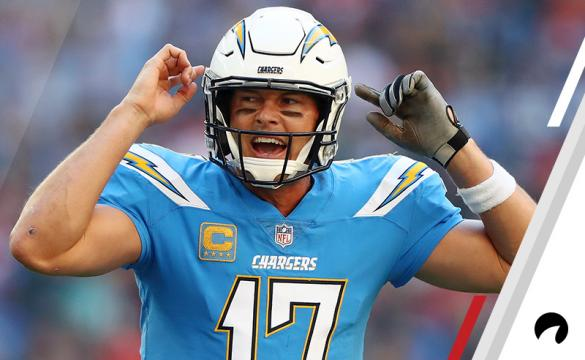 Philip Rivers of Los Angeles Chargers reacts during the NFL International Series match between Tennessee Titans and Los Angeles Chargers at Wembley Stadium on October 21, 2018 in London, England.