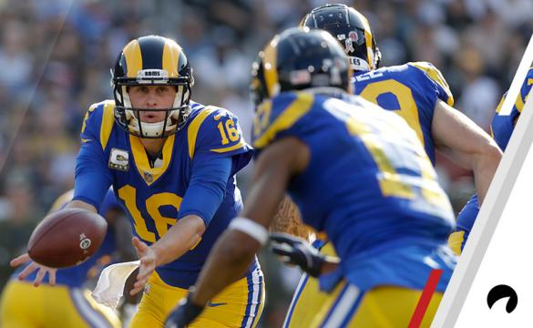 Los Angeles Rams quarterback Jared Goff hands off against the Seattle Seahawks during the first half in an NFL football game Sunday, Nov. 11, 2018, in Los Angeles.