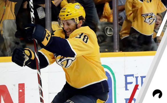 Nashville Predators right wing Ryan Hartman (38) celebrates after scoring a goal against the Vegas Golden Knights in the second period of an NHL hockey game Tuesday, Oct. 30, 2018, in Nashville, Tenn.