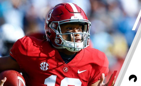 Alabama quarterback Tua Tagovailoa (13) carries the ball during the first half of an NCAA college football game against Citadel, Saturday, Nov. 17, 2018, in Tuscaloosa, Ala.