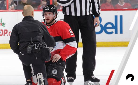 Domenic Nicoletta talks with Bobby Ryan #9 of the Ottawa Senators after he was injured in a game against the Montreal Canadiens at Canadian Tire Centre on December 6, 2018 in Ottawa, Ontario, Canada