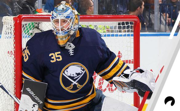 Linus Ullmark #35 of the Buffalo Sabres defends the net during an NHL game against the Ottawa Senators on November 3, 2018 at KeyBank Center in Buffalo, New York