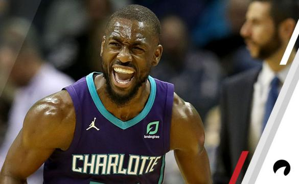 Kemba Walker #15 of the Charlotte Hornets reacts after a play against the New Orleans Pelicans during their game at Spectrum Center on December 2, 2018 in Charlotte, North Carolina