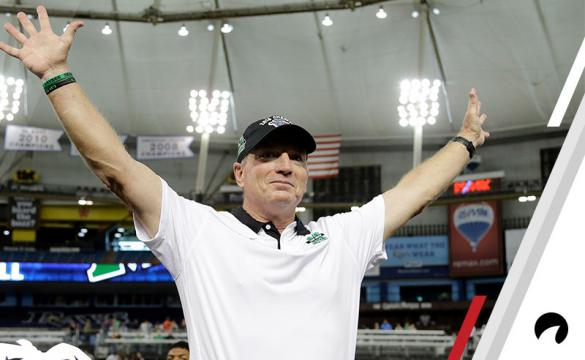 In this Dec. 26, 2015, file photo, Marshall head coach Doc Holliday celebrates the team's 16-10 win against Connecticut in the St. Petersburg Bowl NCAA college football game in St. Petersburg, Fla.