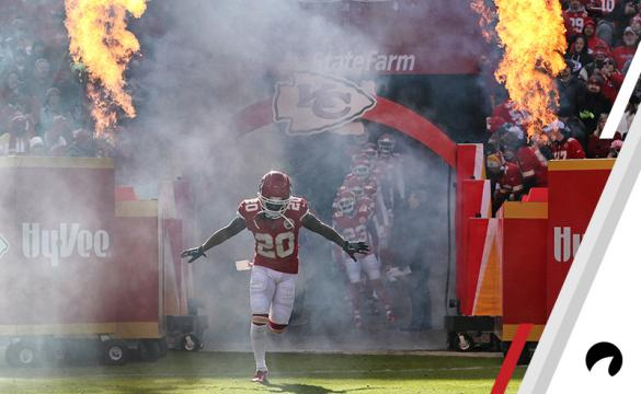 Kansas City Chiefs cornerback Steven Nelson (20) enters the field with flames rising behind him in introductions before an NFL game between the Baltimore Ravens and Kansas City Chiefs on December 9, 2018 at Arrowhead Stadium in Kansas City, MO.