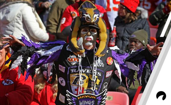 A Ravens fan is decked out and spreads his wings before an NFL game between the Baltimore Ravens and Kansas City Chiefs on December 9, 2018 at Arrowhead Stadium in Kansas City, MO.