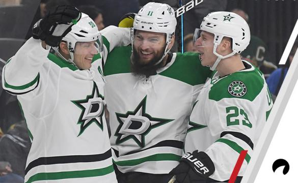 Jason Spezza #90, Martin Hanzal #11 and Esa Lindell #23 of the Dallas Stars celebrate after Lindell assisted Hanzal on a first-period power-play goal against the Vegas Golden Knights during their game at T-Mobile Arena on December 9, 2018 in Las Vegas, Nevada.