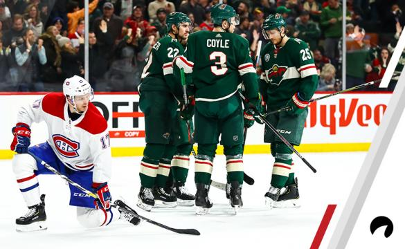The Minnesota Wild celebrate after defenseman Jared Spurgeon (46) (not pictured) scored in the 3rd period during the game between the Montreal Canadiens and the Minnesota Wild on December 11, 2018 at Xcel Energy Center in St. Paul, Minnesota.