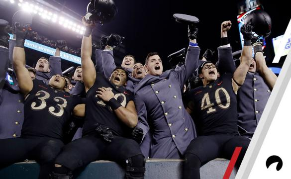 Army players celebrate a victory over Navy after an NCAA college football game, Saturday, Dec. 8, 2018, in Philadelphia. Army won 17 -10.