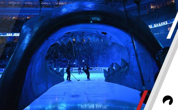 The San Jose Sharks are introduced before the National Hockey League game between the Dallas Stars and the San Jose Sharks on December 13, 2018 at SAP Center in San Jose, CA.