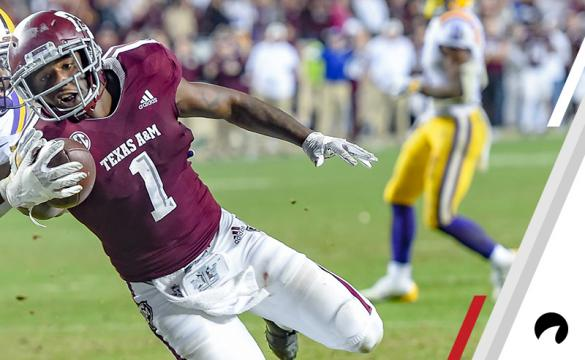 Texas A&M Aggies wide receiver Quartney Davis (1) runs in for a touchdown during the game between the LSU Tigers and the Texas A&M Aggies on November 24, 2018 at Kyle Field in College Station, TX.