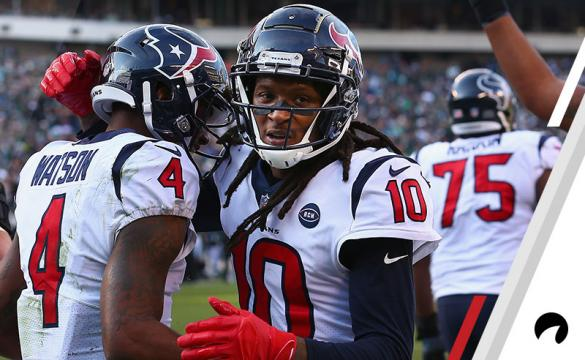 Quarterback Deshaun Watson #4 of the Houston Texans celebrates his touchdown with teammate wide receiver DeAndre Hopkins #10 against the Philadelphia Eagles during the second quarter at Lincoln Financial Field on December 23, 2018 in Philadelphia, Pennsylvania