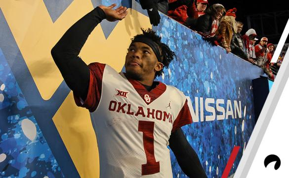 Kyler Murray #1 of the Oklahoma Sooners celebrates after defeating the West Virginia Mountaineers 59-56 on November 23, 2018 at Mountaineer Field in Morgantown, West Virginia.