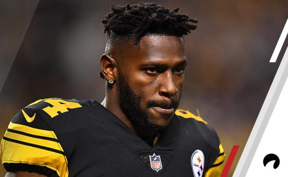 Antonio Brown #84 of the Pittsburgh Steelers looks on during the game against the New England Patriots at Heinz Field on December 16, 2018 in Pittsburgh, Pennsylvania.
